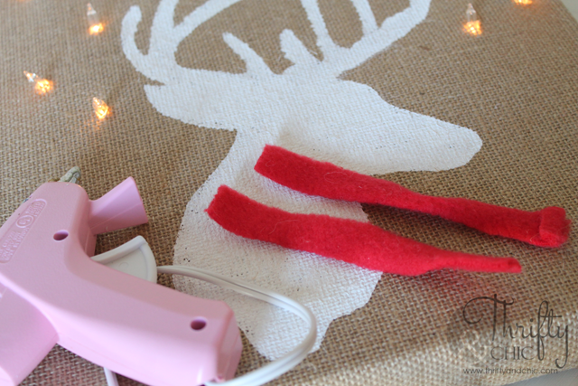 DIY light up deer silhouette on burlap canvas