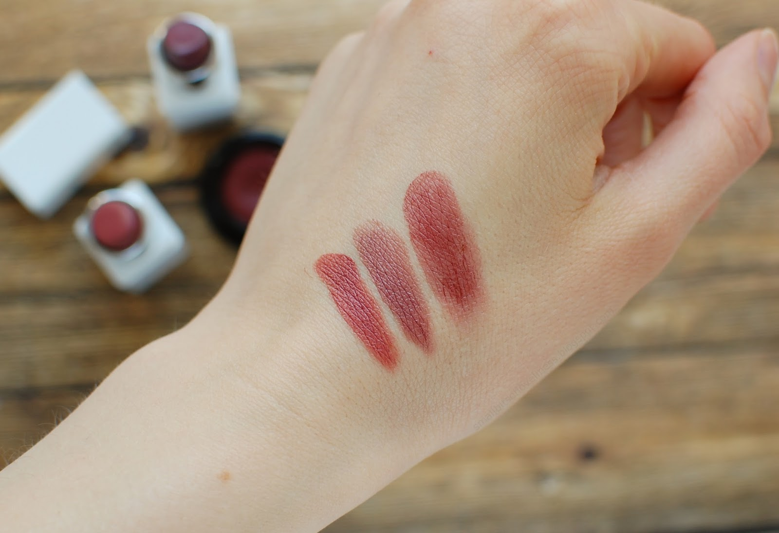 Nudus Lipstick 27 Kisses and Just Like Jade, Gressa Skin Regal Lip Boost swatch