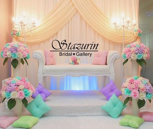 Pelamin Tunang/Nikah Tirai Eksklusif Warna Mint Green+Lilac Purple+Pink+Cream+Bangku Kerusi