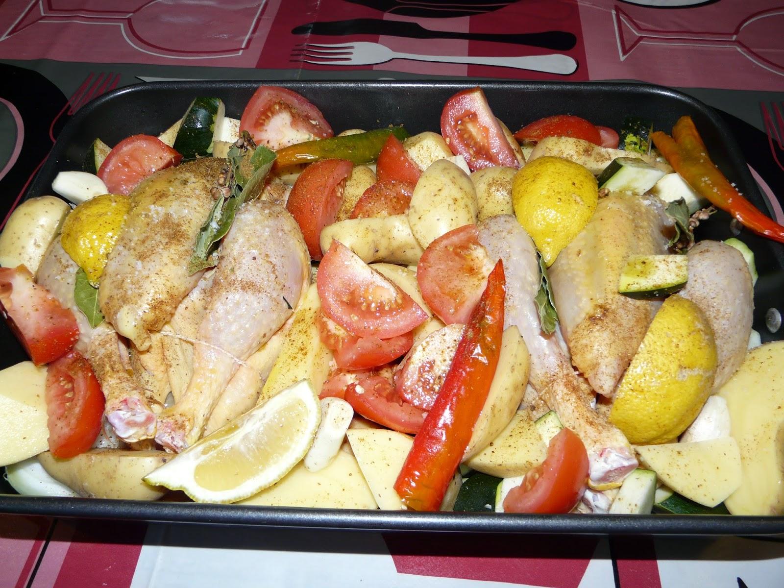 Plat unique familial poulet r ti aux l gumes for Plat unique convivial
