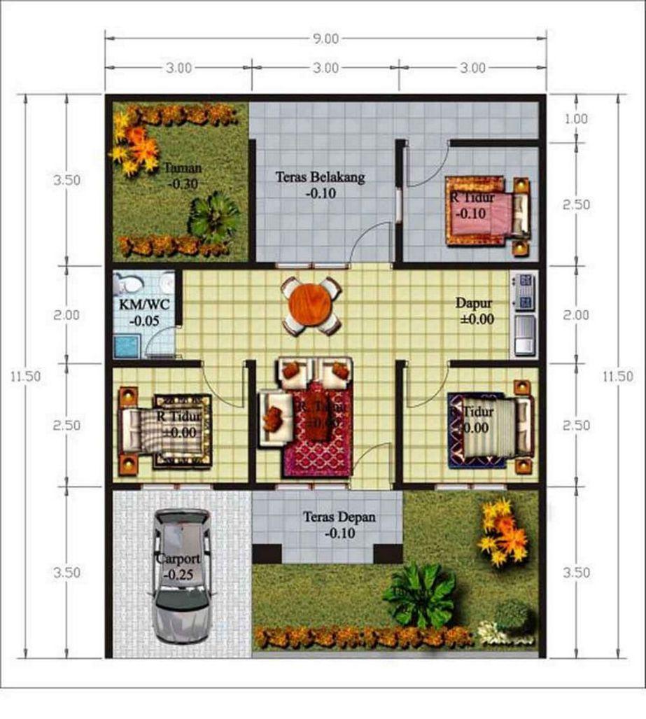 layout denah 3 kamar ada garasi terbaru