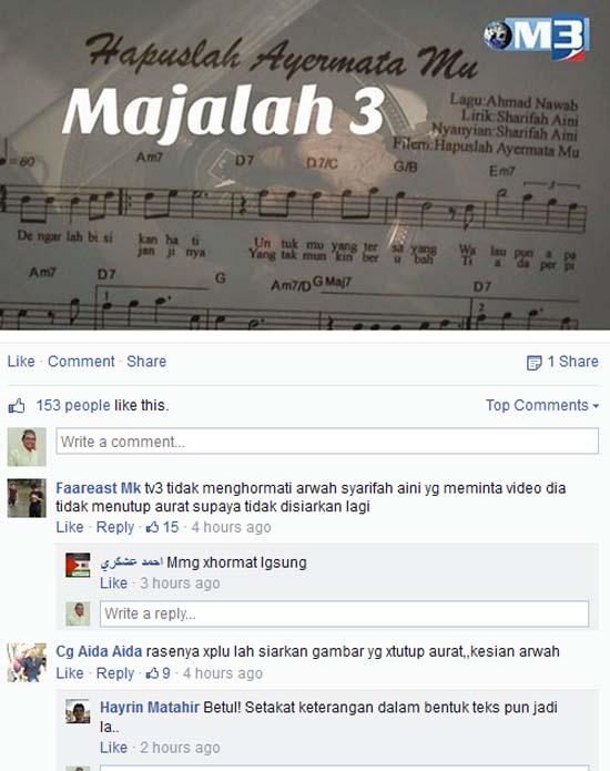 TV3 Tidak Prihatin Permintaan Akhir Arwah Sharifah Aini?