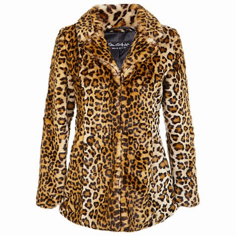 Miss Selfridge Faux Fur Leopard Print Coat, Leopard Print