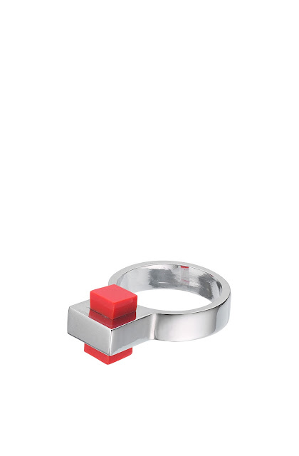 silver and red ring