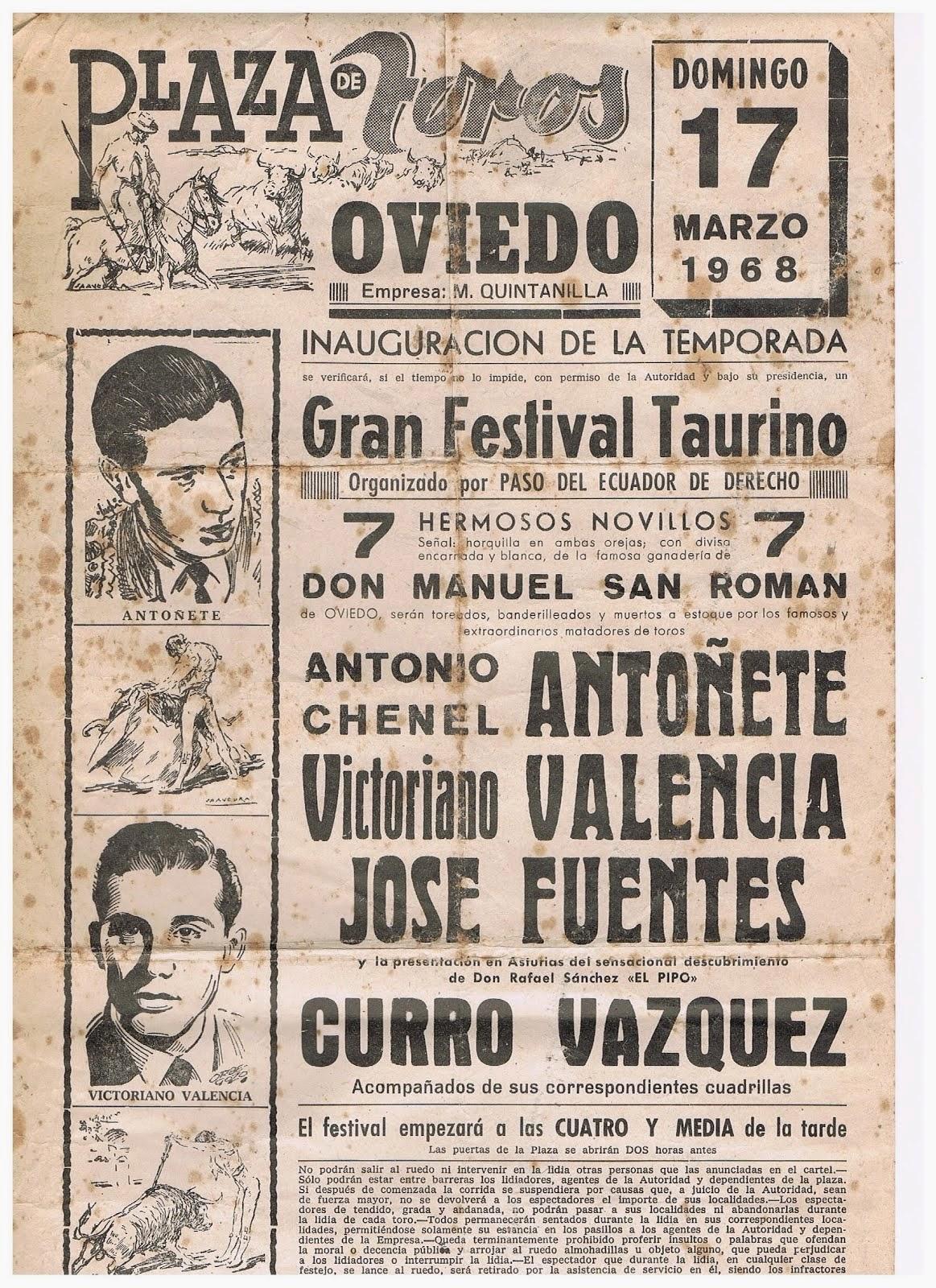 CARTEL DE TOROS DE OVIEDO