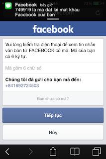 Cánh lấy lại mật khẩu Facebook bằng số điện thoại