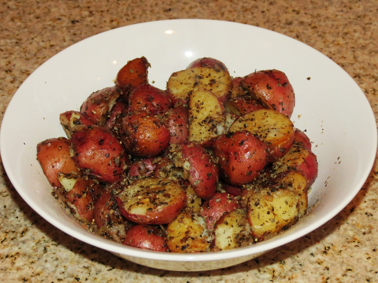 Stove Top Baby Red Potatoes with Basil Shallots and Garlic