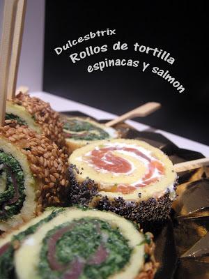 Dulcesbtrix-Rollo de tortilla con salmón y espinacas
