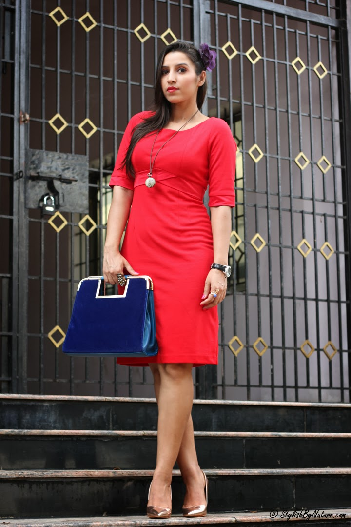 How To Wear Red Vintage Dress Velvet Bag Stylish By Nature By Shalini Chopra India Fashion