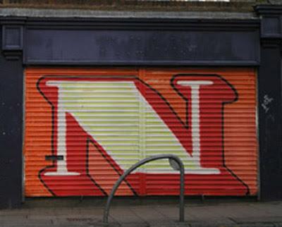 Letter N on Graffiti alphabet art.