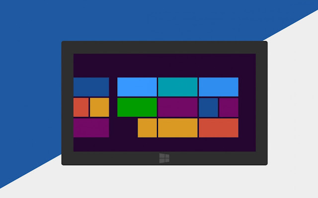 Blauw witte Windows 8 wallpaper met tablet en metro tegels