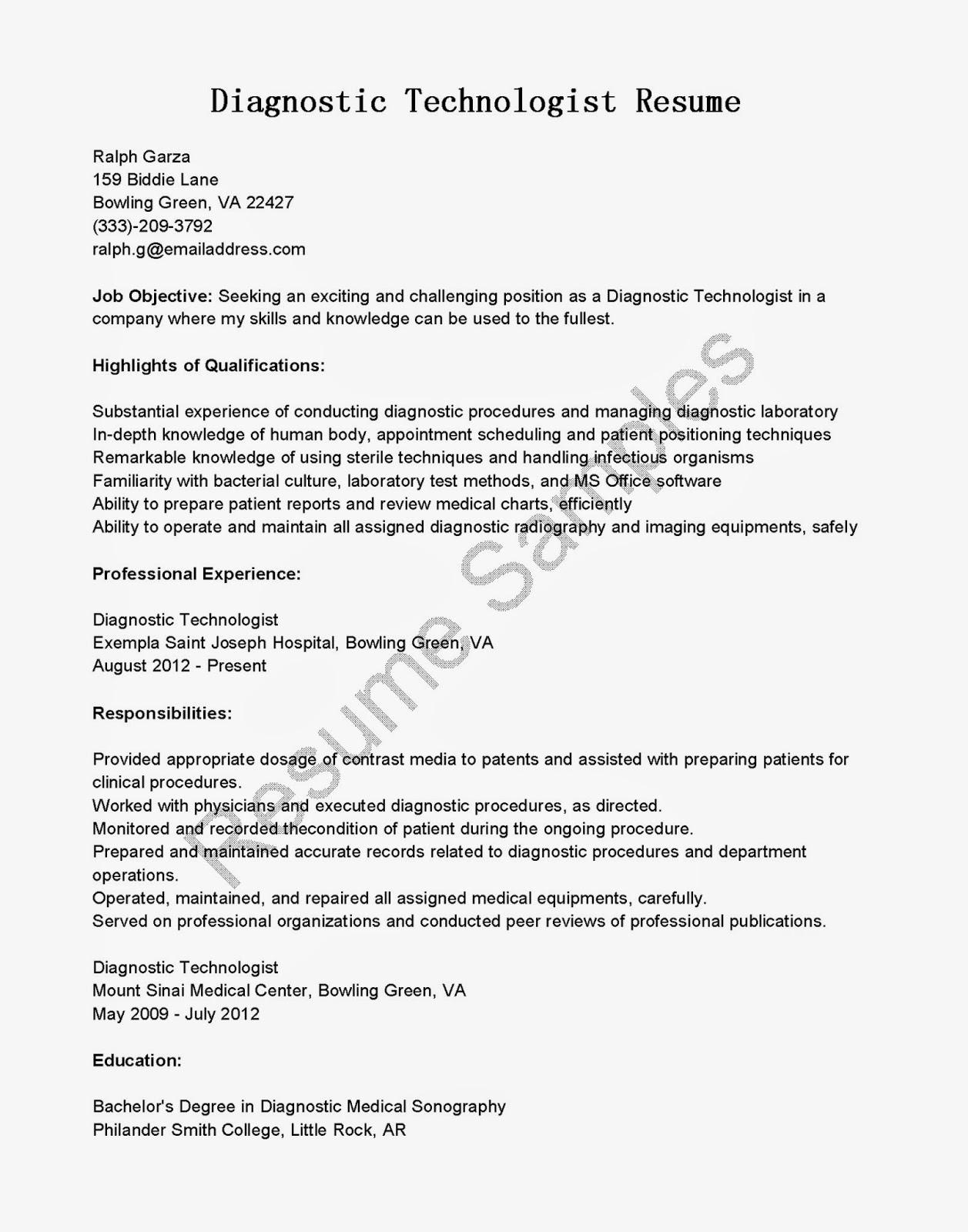 resume samples  diagnostic technologist resume sample