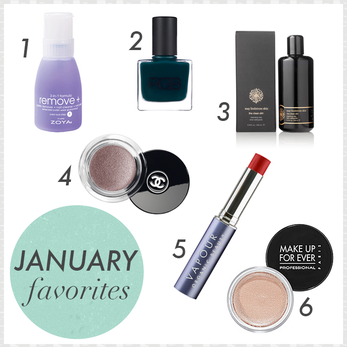 Zoya Remove +, Chanel Illusion D'Ombre in Illusoire, RGB Nail Polish in Tropic, May Lindstrom The Clean Dirt Cleanser, Vapour Organic Beauty Siren Lipstick in Courage, Make Up For Ever MUFE Aqua Cream 13 Warm Beige
