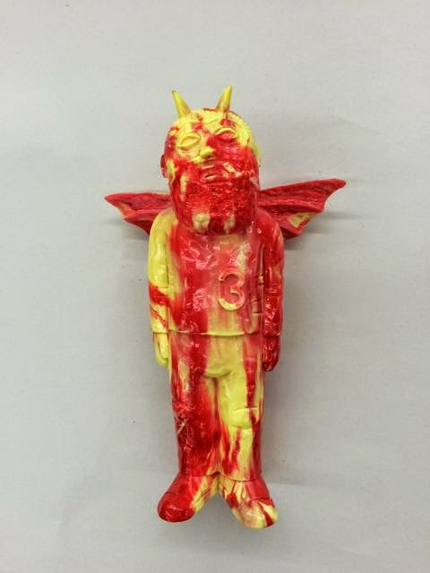 Red & Yellow Marbled Lucky Vinyl Figure by Mike Egan