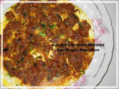 Mutton Kari Dosai / Kari Dosai / Meat Dosa / கறி தோசை