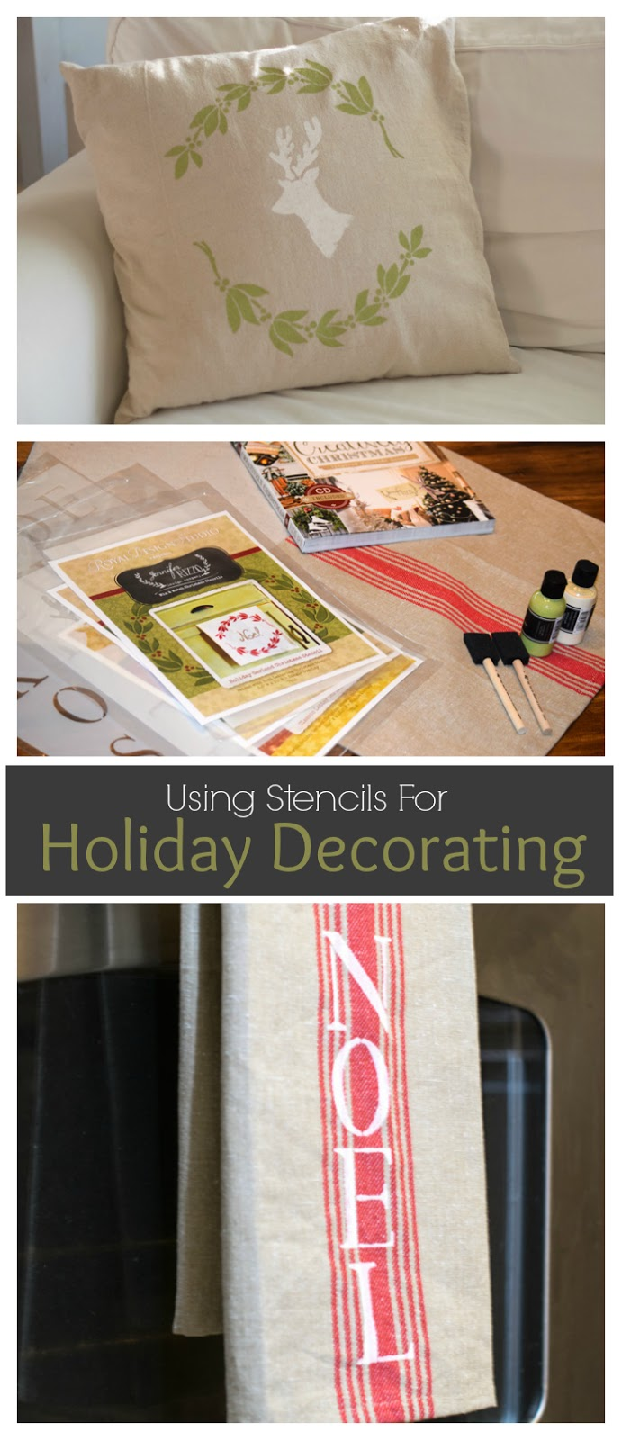 Use Stencils for Easy Holiday Decorating! Deck the Halls! Looking for a way to bring Creativity into your Holiday Decor? Use easy to find items like pillow covers or dish towels, along with stencils to decorate your home for the Holidays. Enjoy crafting your own decorations this Christmas! #Christmas #Holidays #crafts #HolidayIdeas