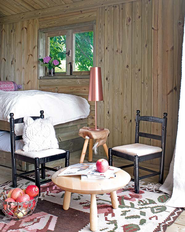 Dormitorio infantil -cabaña de madera pequeña - mobiliario niños