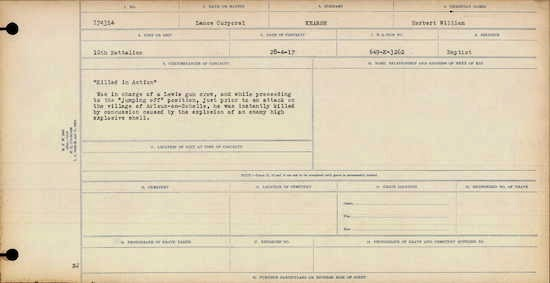Diary of Herbert Kearse, WW1 soldier War Graves Register