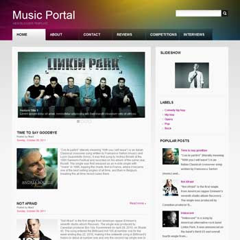 Music Portal blog template. download blogger template for music blogs