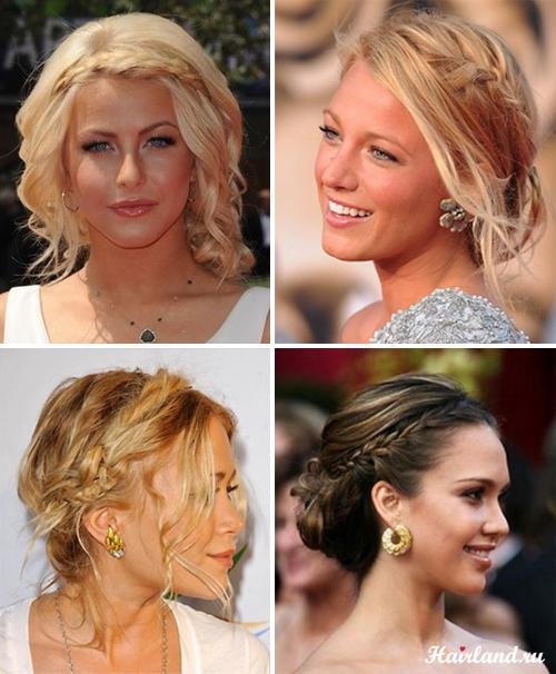 Вечірні зачіски з косами на середне волосся. 31d82123b7a51