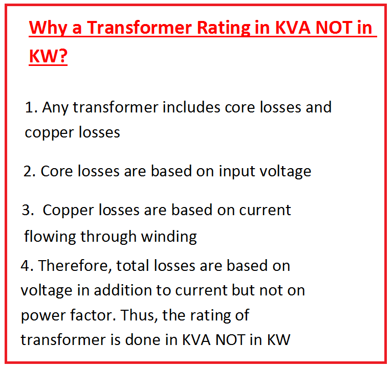 Why A Transformer Rating In Kva Not In Kw
