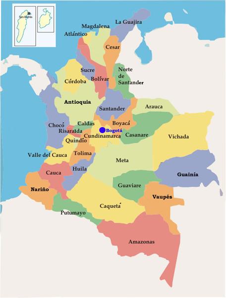 mapa de colombia por departamentos