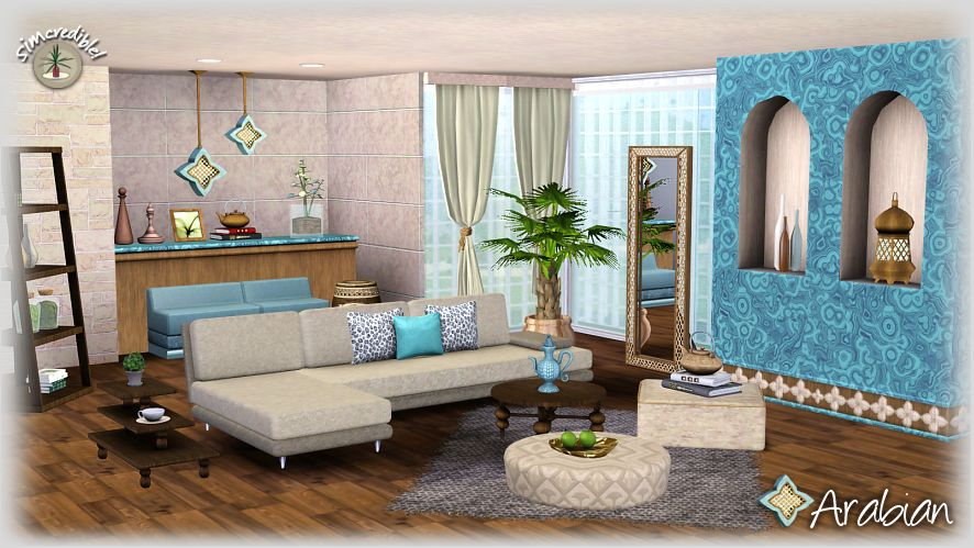 My sims 3 blog arabian living room set by simcredible designs for Living room ideas sims 3