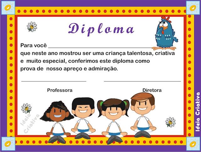 Certificado Educação Infantil Tema Galinha Pintadinha