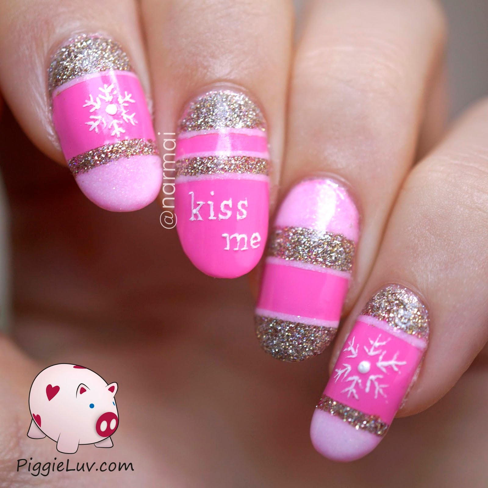 PiggieLuv: Kiss me nail art (with snowflakes)