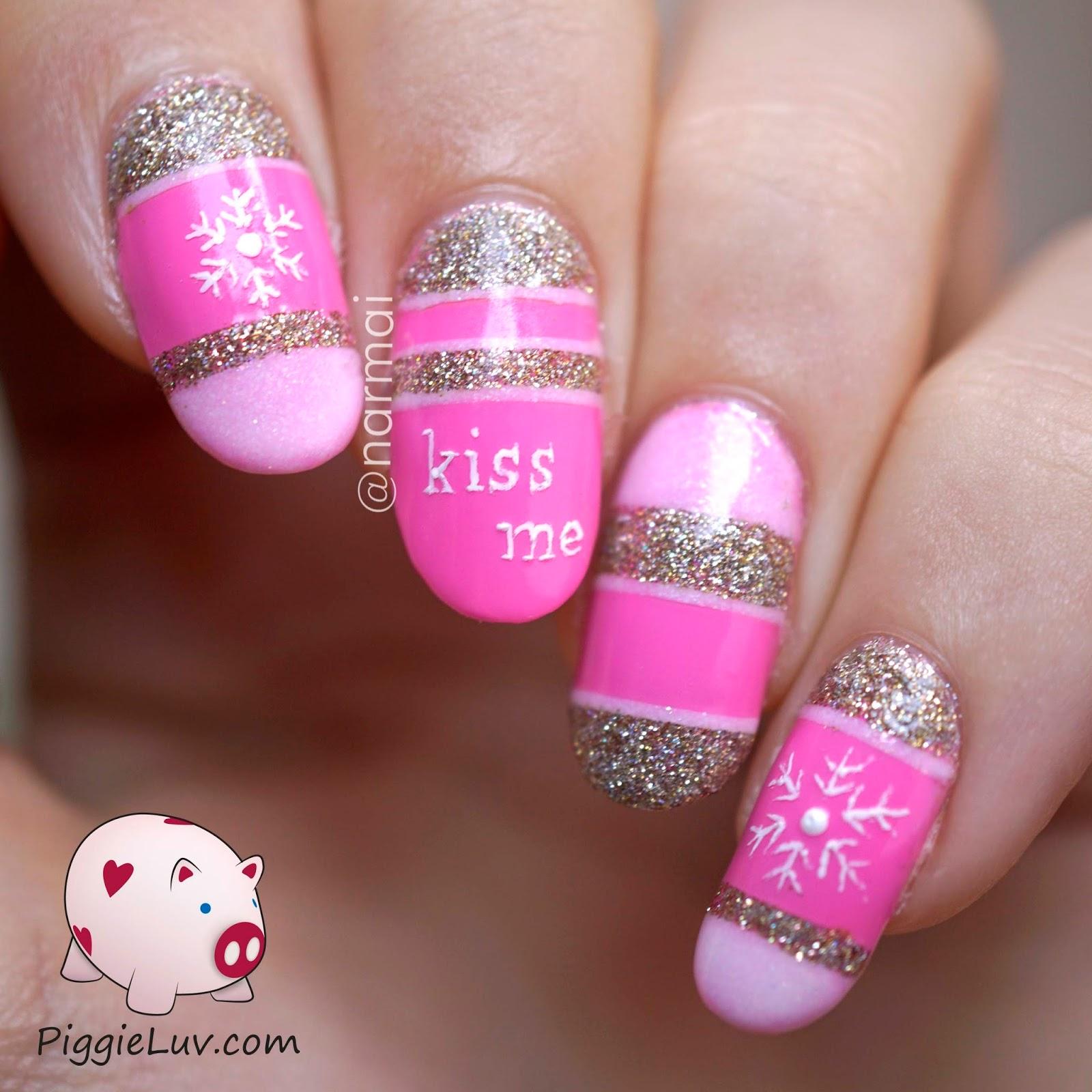 PiggieLuv: Kiss me nail art (with snowflakes)