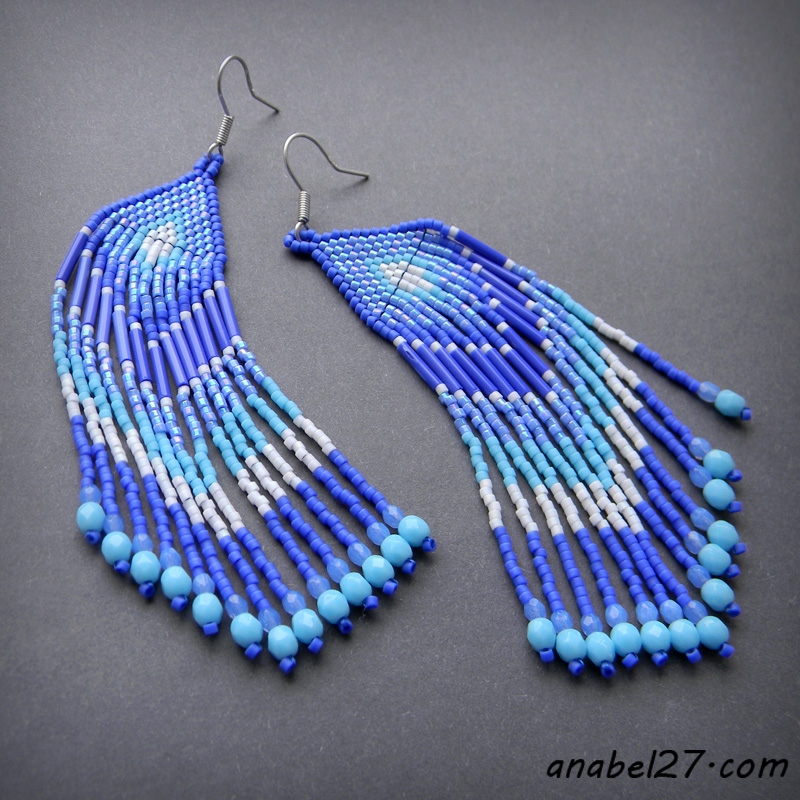 Blue seed bead earrings - ethnic style jewelry
