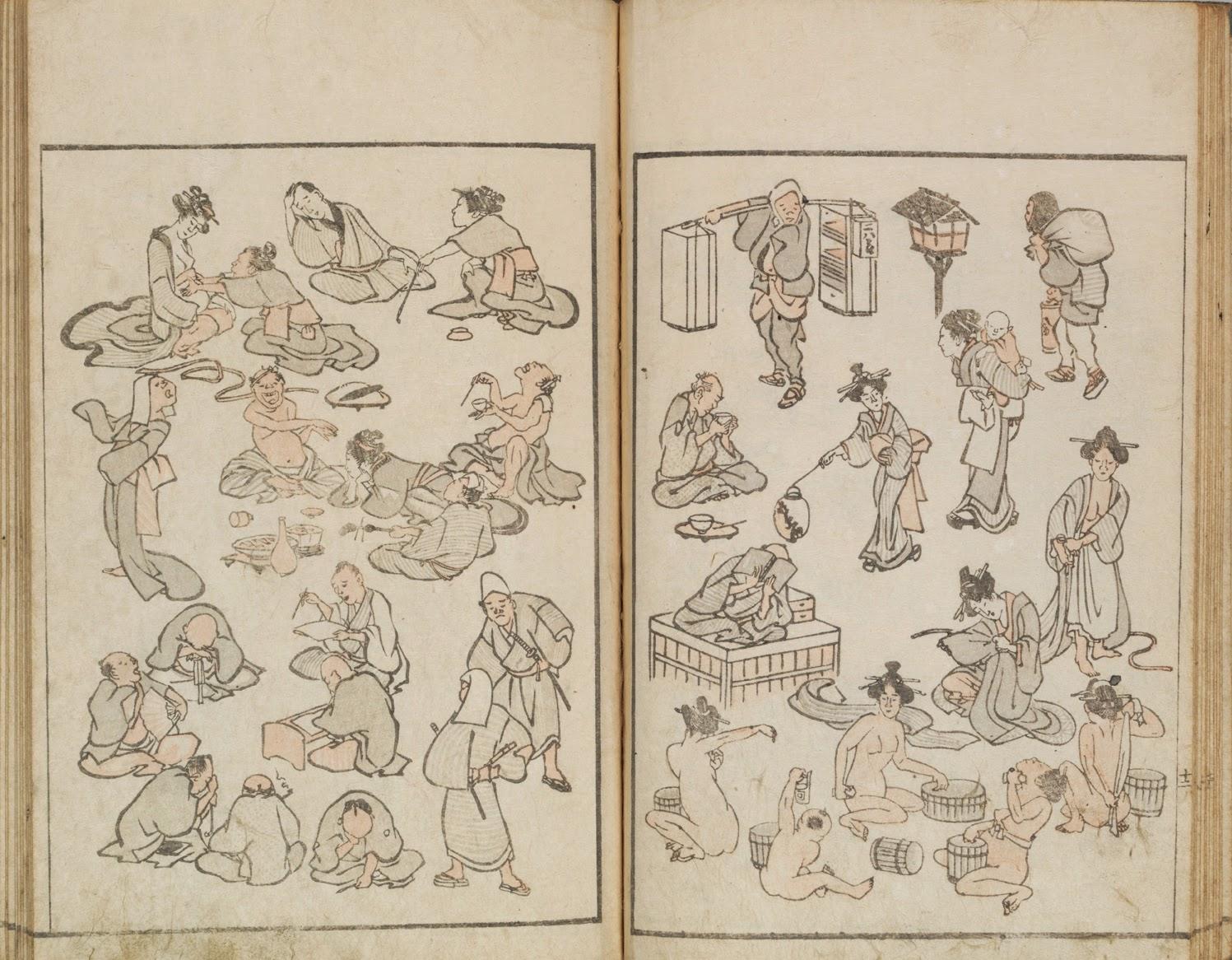 Katsushika Hokusai (1760 -1849) Hokusai Manga. Carnet de croquis divers de Hokusai Hokusai manga Ère Bunka, an XI (janvier 1814) Livre edehon, format hanshibon Signature : Katsushika Hokusai hitsu Sceau : Raishin Éditeur : Eiraku-ya Tōshirō Japon, collection particulière