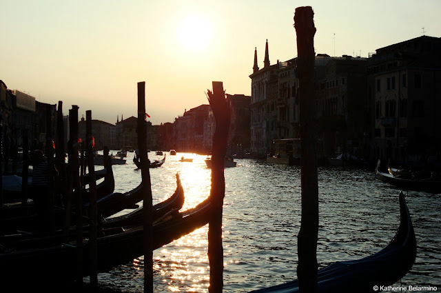 Gondolas Docked on the Canal at Sunset