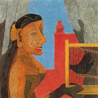 'Dona amb gàbia d'ocells (Rufino Tamayo)'