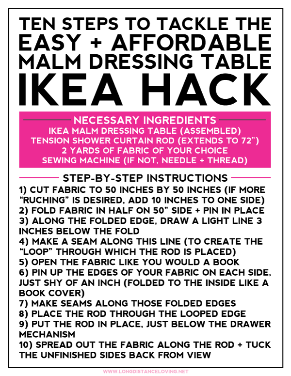 ten steps to tackle the ikea malm dressing table hack + how to get rid of the cords for good! {free printable included!}