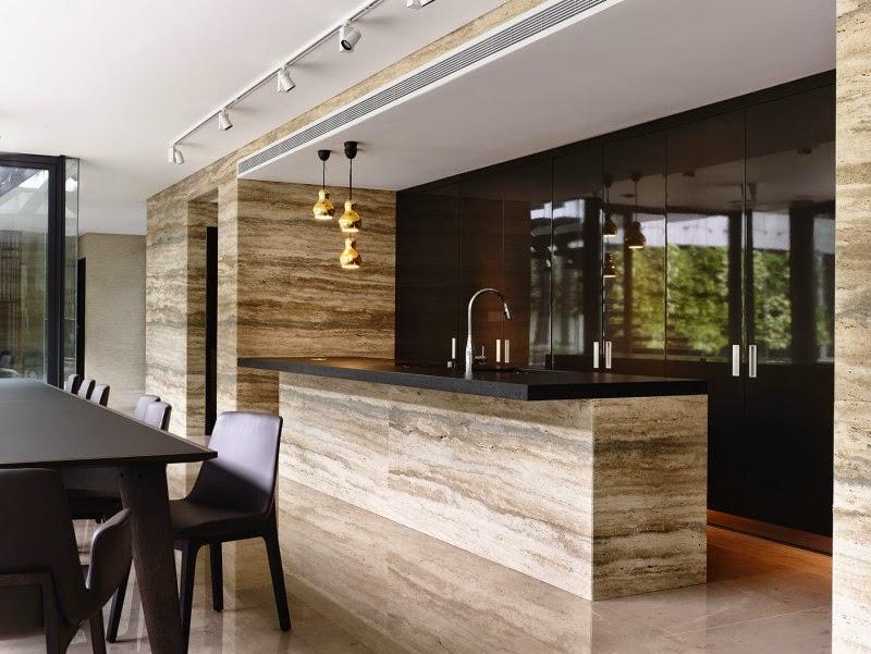 Singapore Contemporary House - interior design - bright stone accent in the kitchen and dark combination