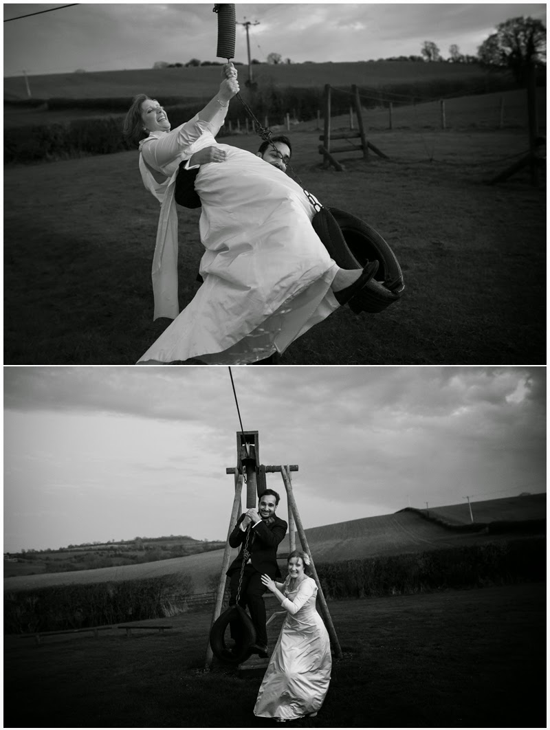 Bride and Groom take on the zip line at Priston Mill