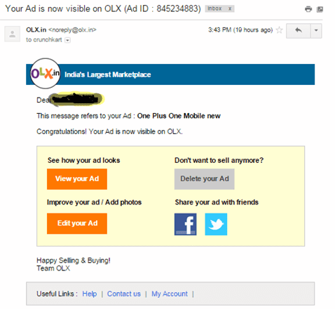 OLX activation mail sample