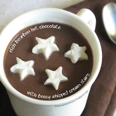 Rich bourbon hot chocolate recipe with boozy whipped cream stars