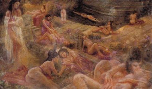 en una bacanal con algunos compañeros y prostitutas (sueño)