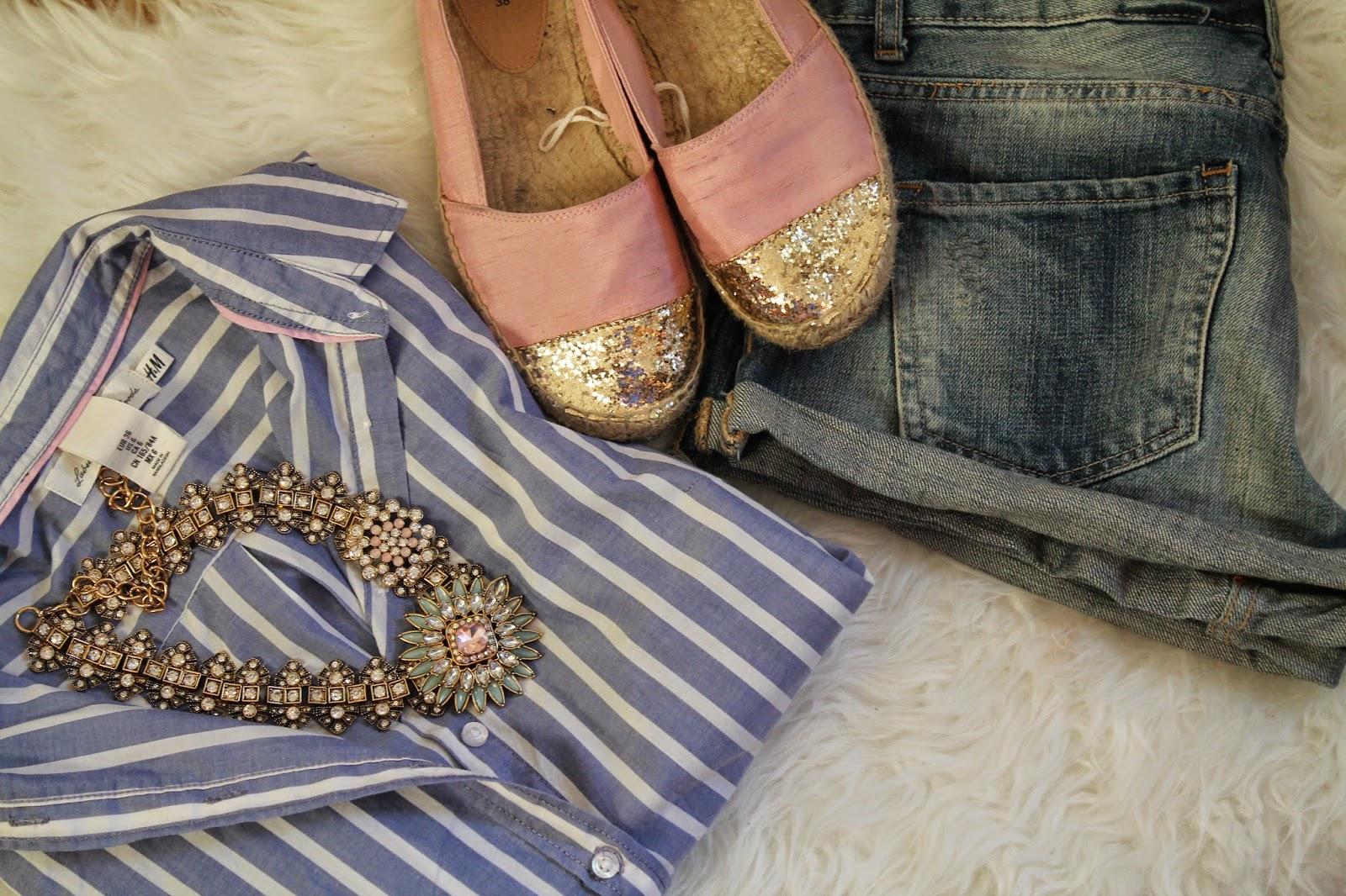 Fashionblogger Austria / Österreich / Deutsch / German / Kärnten / Carinthia / Klagenfurt / Köttmannsdorf / Spring Look / Classy / Edgy / Summer / Summer Style 2014 / Espadrillas / H&M / Blouse / Necklace / Stament / Persummall /