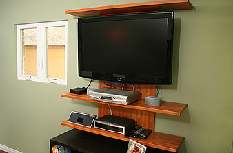 thad mills wall mounted tv shelving project. Black Bedroom Furniture Sets. Home Design Ideas