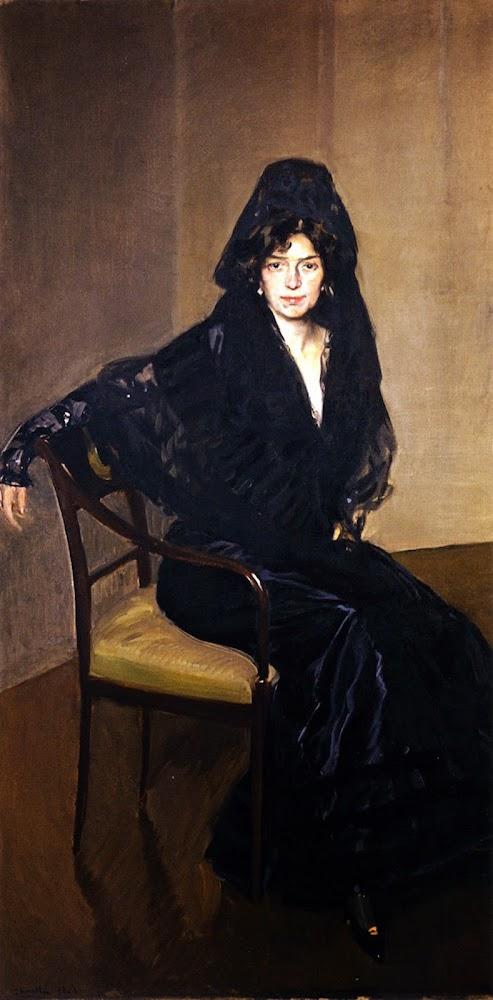 Clotilde con vestido negro, Joaquín Sorolla Bastida