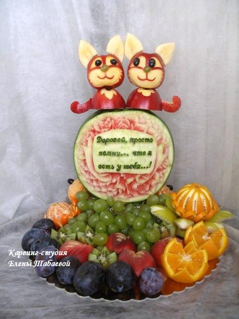 котята из яблок карвинг-скульптура южно-сахалинск