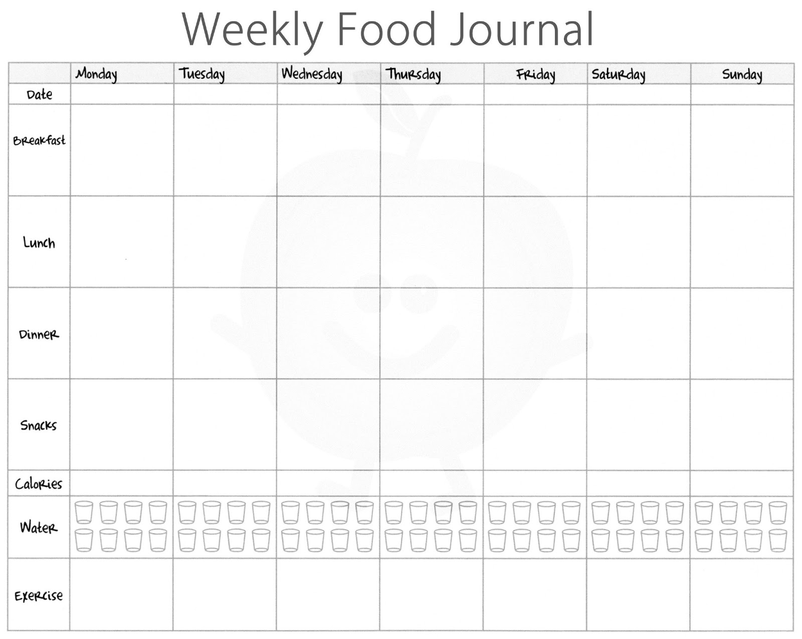 Food Log Template  Calorie Diary Template
