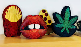 "Gelareh Mizrahi's ""...fries with that?"", Lips, Pizza, Hemp shaped bags at BNY."