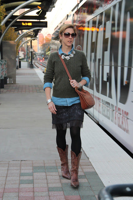 Ralph Lauren Sweater from summerbird, Skirt from The Boulevard at South End, Forever 21 Shirt, Coach Bag, J. Crew Necklace, tights, bracelet, Charlie 1 Horse boots, Blinde Sunglasses, JewelMint Earrings