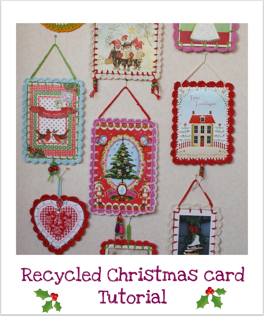 Dutch Sisters Tutorial Recycled Christmas Card With Crochet Scallop Edge