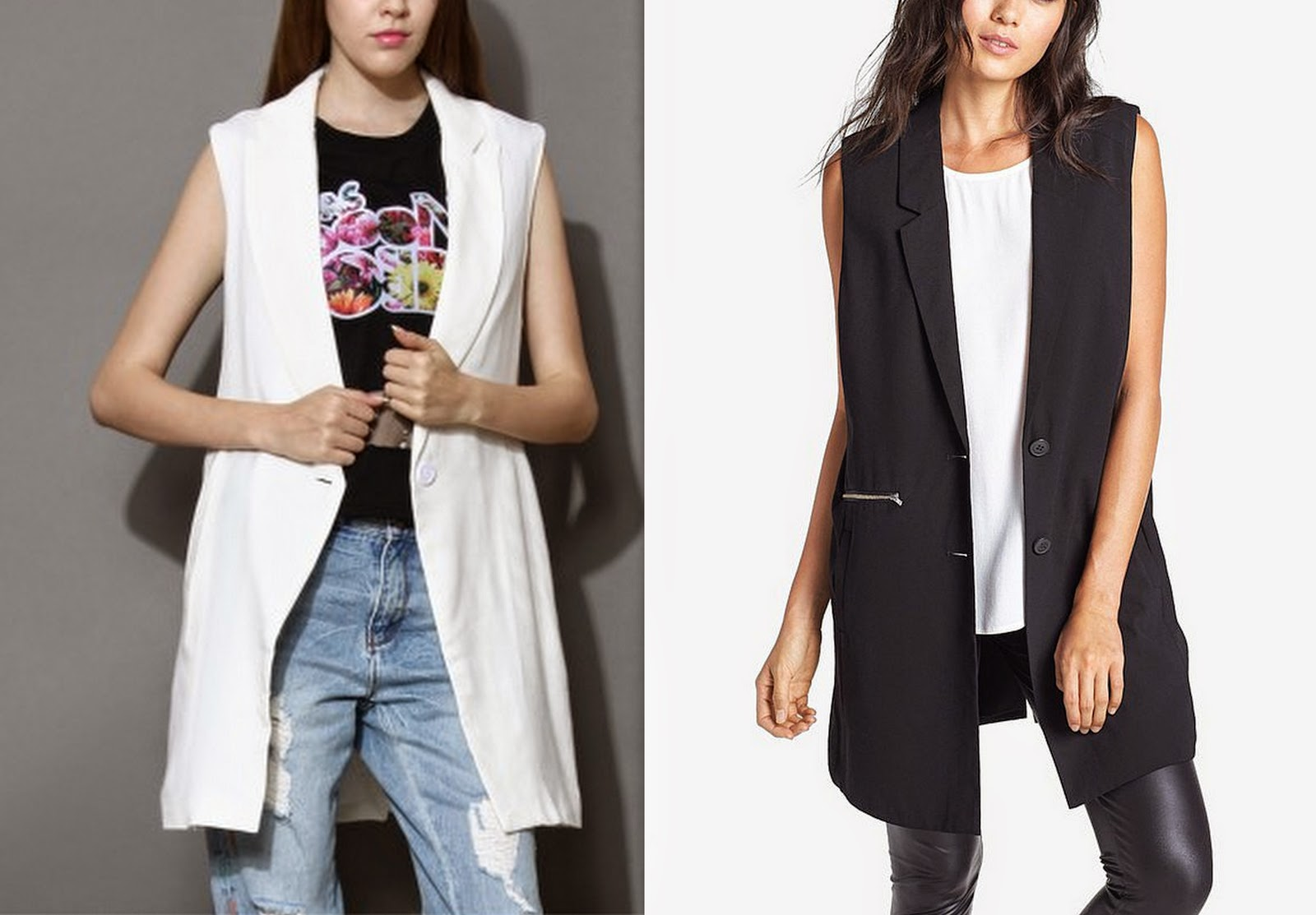 trend, black grey white tan sleeveless blazer, blazer vest,