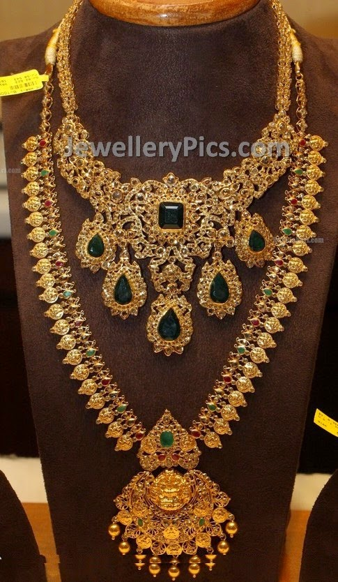 long kasumala and uncut diamond necklace